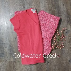 COLDWATER CREEK CORAL SHORT SLEEVE TOP, SIZE SMALL